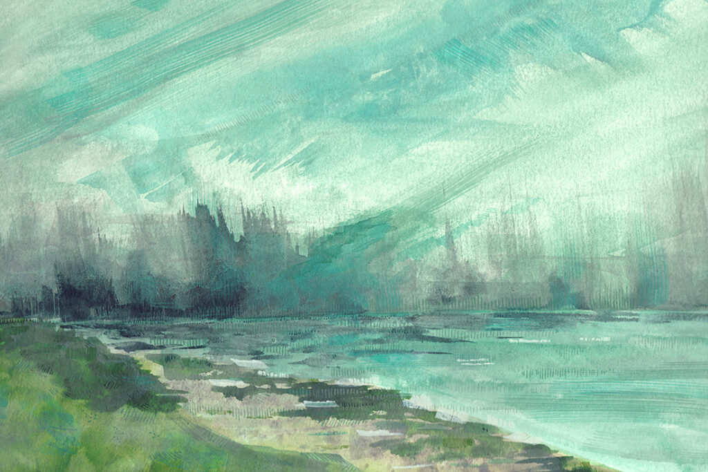 Seascape Painting of a coastline near Dunstanburgh