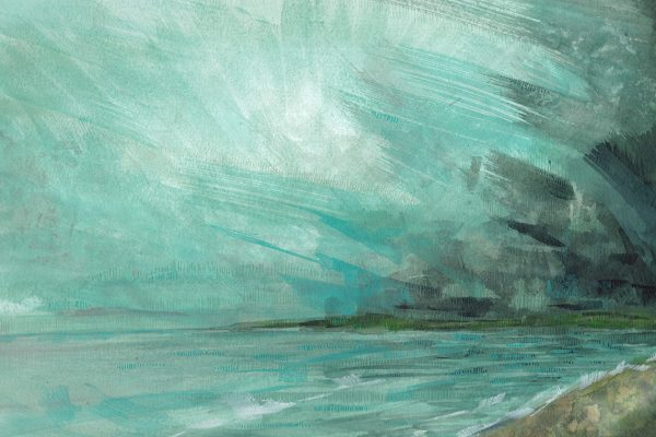 A seascape painting of a storm approaching