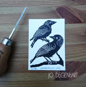 Jackdaws lino print <p>by Jo Degenhart