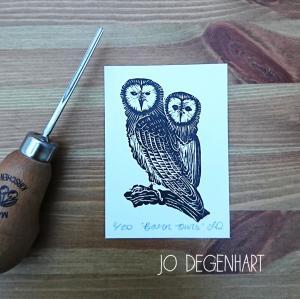 Barn Owls lino print <p>by Jo Degenhart