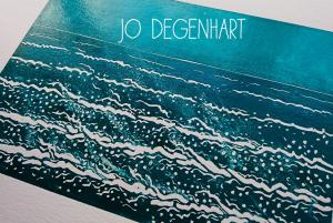 Sea Breeze lino print by Jo Degenhart