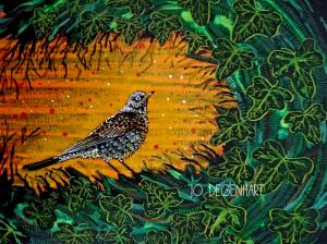 Fieldfare painting by Jo Degenhart